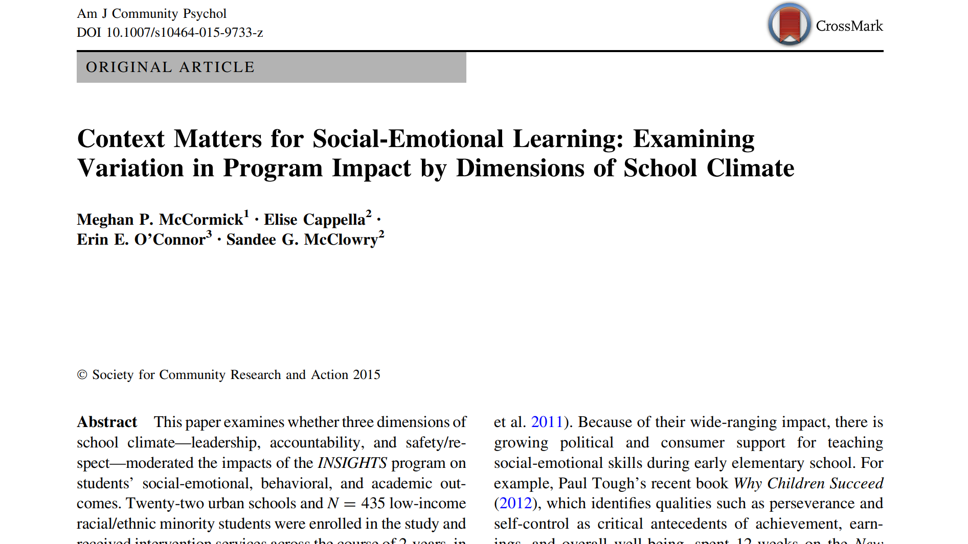 (PDF) Context Matters for Social-Emotional Learning: Examining ...